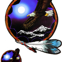 Eagle Moon and Mountains Sticker