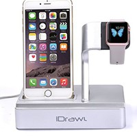 Apple Watch Stand, iPhone Docking Station, i-DRAWL Charging Stand Portable 3 in 1 Multifunctional Charger Dock Cradle for iWatch and all Smart Phone