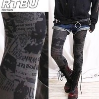 Punk emo Newspaper Printed Opaque 120 Den Tight Legging
