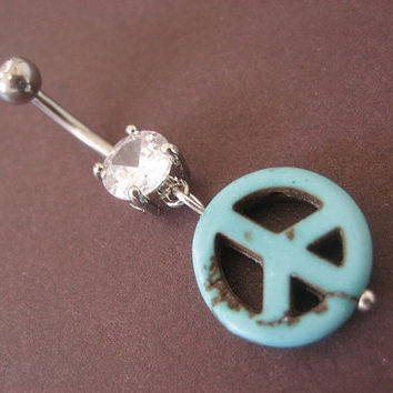 Belly Button Jewelry Navel Ring- Turquoise Stone Peace Sign Bead Charm Dangle Piercing Bar