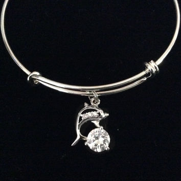 Dolphin CZ Silver Expandable Charm Bracelet Adjustable Bangle Gift Nautical Ocean