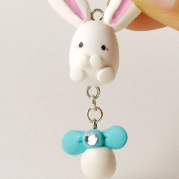Cute White Bunny Charm with Blue Bow, Hand Sculpted, White Rabbit, Polymer Clay