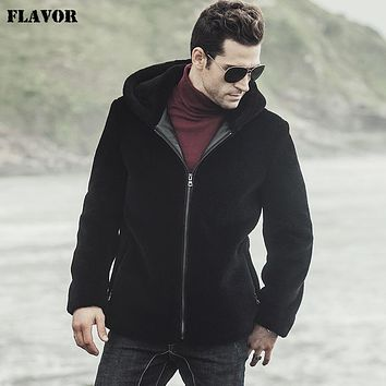 New winter men's Genuine Lamb fur coat Hooded male Wool Jacket