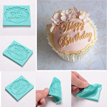 Happy Birthday Silicone Cake Fondant Mould Decorating Chocolate Baking Mold 1Pcs
