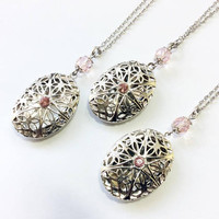 set of 3 oval locket necklaces, bridesmaids / wedding entourage gifts, Art Deco / Edwardian themed jewelry