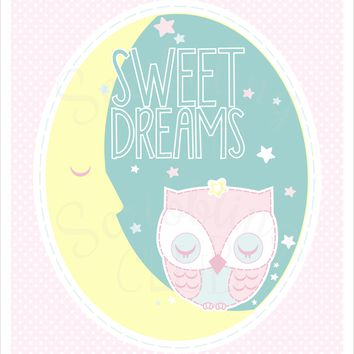 Nursery Wall Art Girl Sweet Dreams Owl