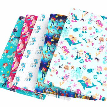 1/2 meter cotton fabric / mermaid cartoon sea life / 16 print options