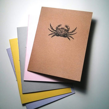 Crab Notebook - journal, staple bound, multipack, handmade