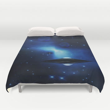 UFO galaxy Duvet Cover by Laureenr