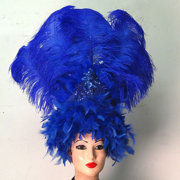 Bright Blue Feather Showgirl Head Dress,Head Piece, Costume Accessory, Ostrich Feather, Any Color, Custom, Batcakes Couture