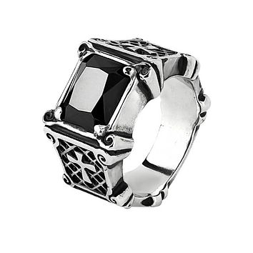 Gregor - Men's Stainless Steel Ring With Crosses On Burnished Black Side Stainless Steel Casting And Black Square Gem Stone