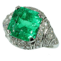 Art Deco Emerald Ring - Green Colombian natural stone 6ct diamond platinum Vintage cocktail ring 1920s ref.13056-0050