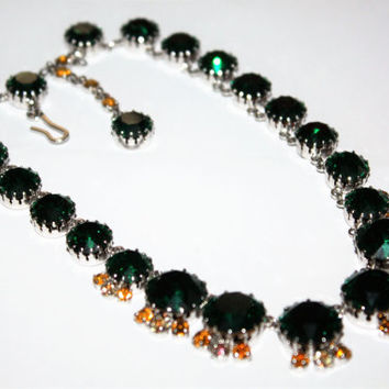 Vintage Green Rhinestone Necklace, Chunky Retro Necklace, 1950s Jewelry Pagent Necklace
