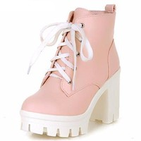 New Sexy Ankle High Heels Platform Boots