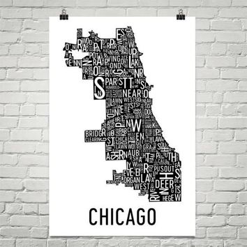 Chicago Neighborhood Typography Prints – Modern Map Art