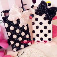 Circle dot bows iphone 5 case iphone 4 case iphone 4s case bling samsung galaxy s4 phone case galaxy s3 case galaxy note 2 case s2 cover