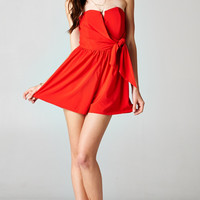 TIED SWEETHEART ROMPER - RED