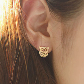 Owl Earrings, Animal Earrings, Cute Earrings, Unique Earrings, Girls Earrings, Korean Earrings, 925 Silver Earrings