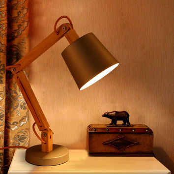 Stylish Adjustable Wooden Vintage Task Lamp W Industrial Seamless Shade