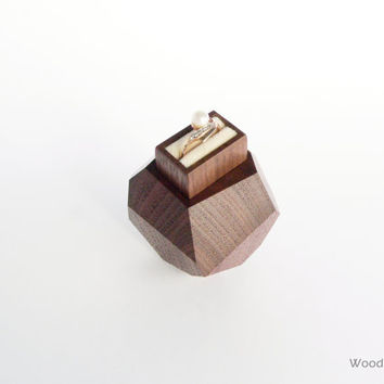 Faceted wood engagement ring box with white pillow in pull-out drawer - proposal ring box - unique anniversary gift by Woodstorming