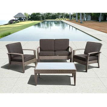 SAVE Florida Deluxe Gray 4-Piece Wicker Patio Conversation Set with Gray Cushions