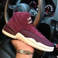 Air Jordan 12 Retro Bordeaux 130690-617 XII Purple Men's Height Increasing Shoes Fashion Shoes Top Quality With Original Box