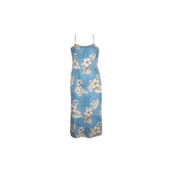 Sky Blue Long Hawaiian Skinny Strap Floral Dress