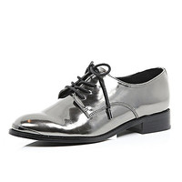 Silver metallic lace-up brogues - lace up / caged shoes - shoes / boots - women