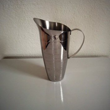 Vintage 60's Stainless Pitcher Mirrored with Handle