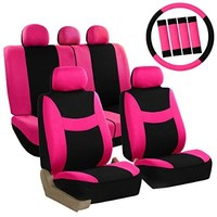FH-FB030115-COMBO FH Group Light & Breezy Pink/Black Cloth Seat Cover Set Airbag & Split Ready- Fit Most Car, Truck, Suv, or Van