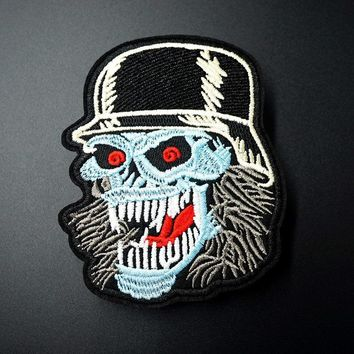 Zombie Skull Size:8.1x10cm Iron On Patches Sewing Embroidered Applique for Jacket Clothes Stickers Badge DIY Apparel Accessories