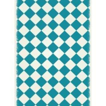 English Checker Design  Size Rug: 4ft x 6ft  teal & white colors