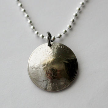Domed Coin Necklace, North Dakota, U.S. State Quarter Dollar, Buffalo, Bison, Animal Pendant 2006, by Hendywood