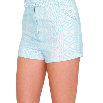 Desert Palm Shorts - Aqua Blue