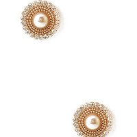 FOREVER 21 Rhinestone Medallion Studs Blush/Cream One