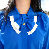 Blue Secretary Blouse