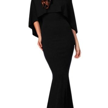 Black Off Shoulder Poncho Gown Mermaid Dresses