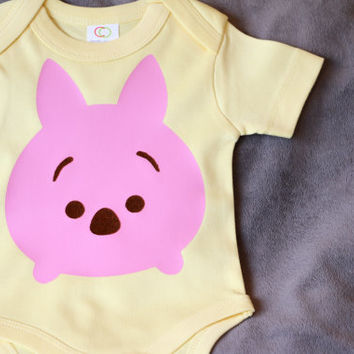 Organic Tsum Tsum Inspired Disney Piglet Baby Clothes Baby Onesuit