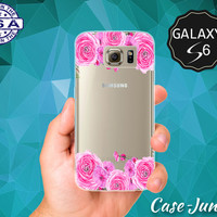 Pink Watercolor Roses Vines Flowers Cute Tumblr Inspired Case for Clear Rubber Samsung Galaxy S6 and Samsung Galaxy S6 Edge Clear Cover