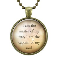 Invictus William Ernest Henley Quote Necklace, I Am The Master Of My Fate, I Am The Captain Of My Soul