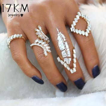 17KM 4pcs/Set Vintage Anillos Unique Carved Antique Crystal Gold Color Ring Crystal Knuckle Rings Set for Women Boho Jewelry