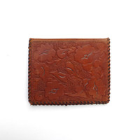 Tooled Leather Wallet Vintage 1940s 1950s Stamped Photo Photograph
