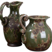 Uttermost Hani Forest Green Pitchers, Set/2 - 19429