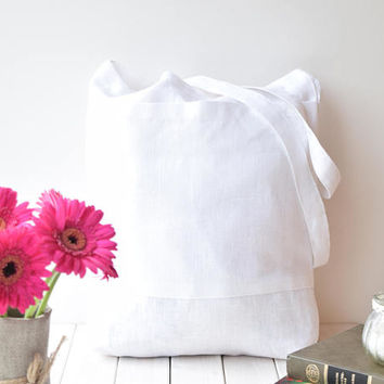 White linen tote bag, Linen shopping bags, market bag, Linen shoulder bags, Linen beach bag, Linen travel bags, Summer tote bag, totes bags