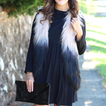 Ombre Perfection Faux Fur Vest {Black}