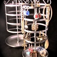 Earring Go Round Small Silver Metal Spinning Jewelry Storage Stand with Tray