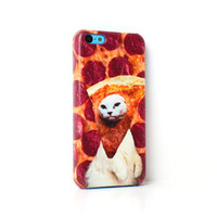 Pizza Cat White iPhone Case For - iPhone 6 Plus Case - iPhone 6 Case -iPhone 5C Case - iPhone 5 Case - iPhone 4 Case