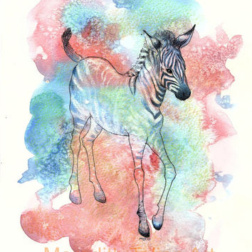Baby Zebra Painting - Original Watercolor - 9x10 Print - Nursery Wall Art - Jungle Theme Nursery - Safari Art - Animal Lover Gift- Red Blue