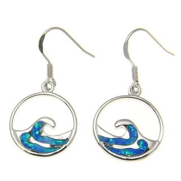 925 Sterling Silver Rhodium Hawaiian Ocean Wave Blue Opal Wire Hook Earrings