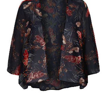 Black and Red Floral Kimono